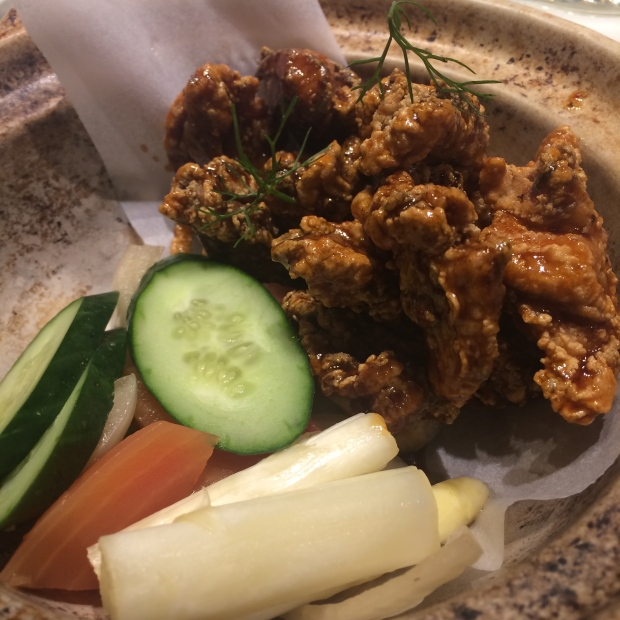 Karaage (fried chicken) with vegetables pickled in-house.